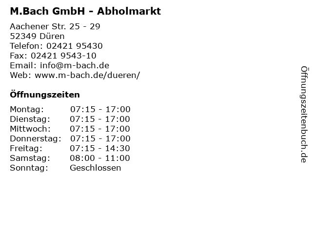 M.Bach GmbH - Abholmarkt in Düren: Adresse und Öffnungszeiten