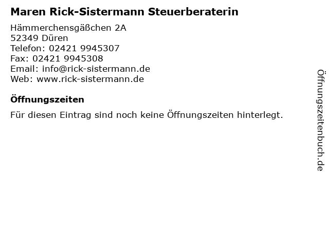 Maren Rick-Sistermann Steuerberaterin in Düren: Adresse und Öffnungszeiten