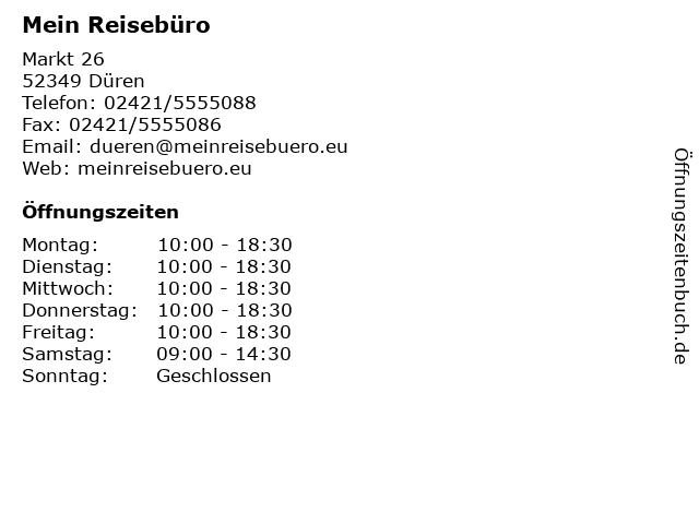 Mein Reisebüro in Düren: Adresse und Öffnungszeiten