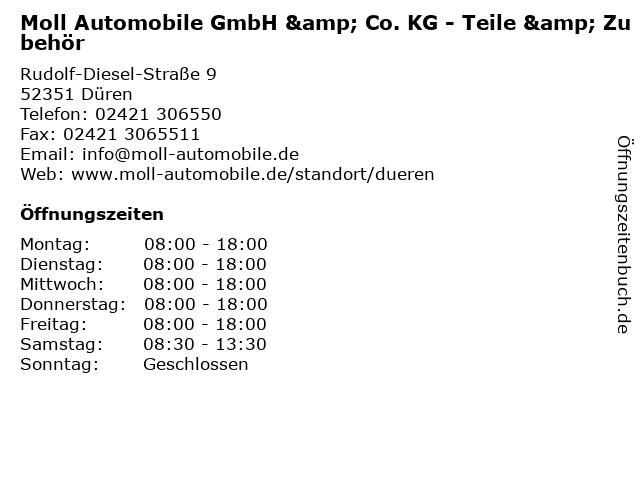 Moll Automobile GmbH & Co. KG - Teile & Zubehör in Düren: Adresse und Öffnungszeiten