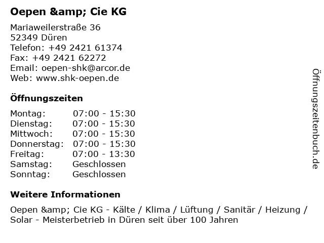Oepen & Cie. KG Sanitäranlagen in Düren: Adresse und Öffnungszeiten
