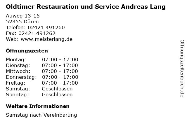 Oldtimer Restauration und Service Andreas Lang in Düren: Adresse und Öffnungszeiten