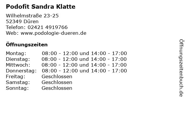 Podofit Sandra Klatte in Düren: Adresse und Öffnungszeiten