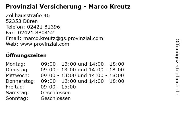 Provinzial Versicherung - Marco Kreutz in Düren: Adresse und Öffnungszeiten