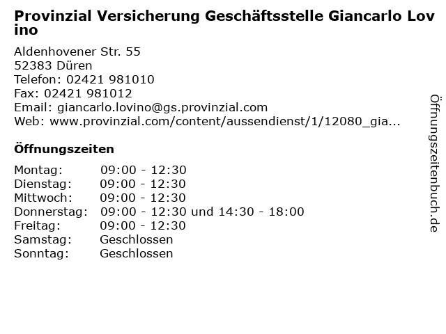 Provinzial Versicherung Geschäftsstelle Giancarlo Lovino in Düren: Adresse und Öffnungszeiten