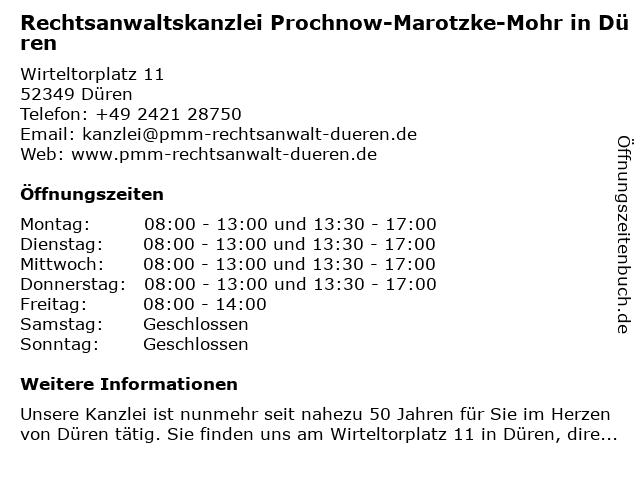 Rechtsanwaltskanzlei Prochnow-Marotzke-Mohr in Düren in Düren: Adresse und Öffnungszeiten