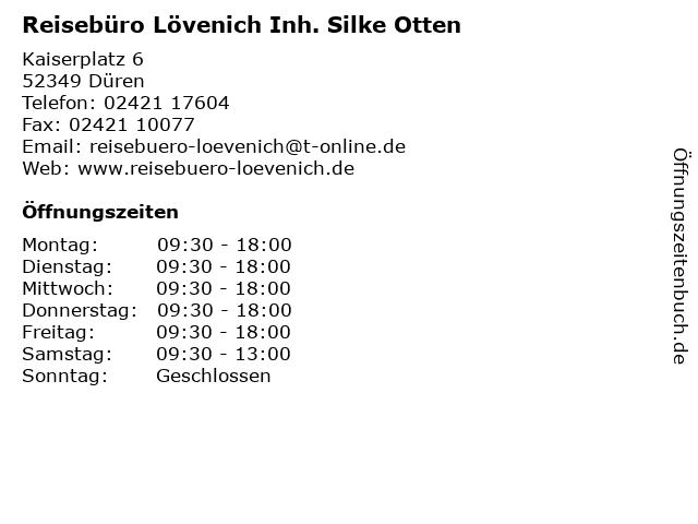 Reisebüro Lövenich Inh. Silke Otten in Düren: Adresse und Öffnungszeiten