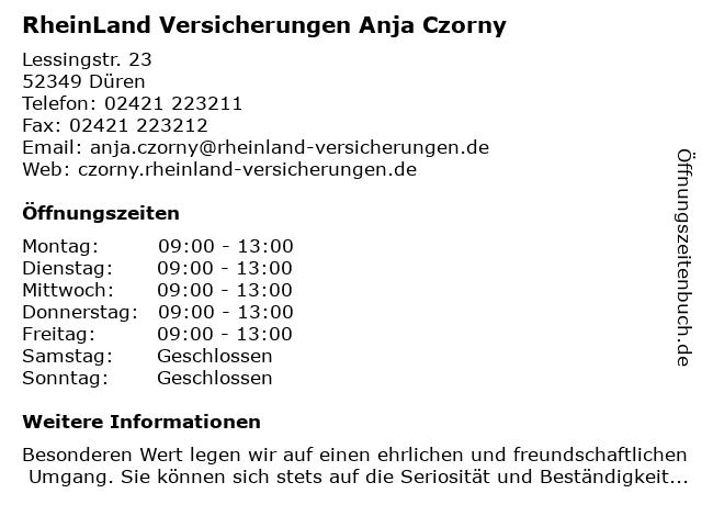 RheinLand Versicherungen Anja Czorny in Düren: Adresse und Öffnungszeiten