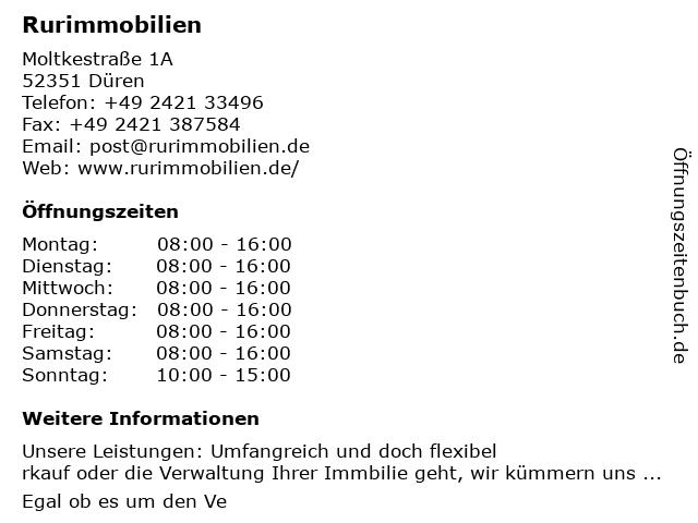 Rurimmobilien in Düren: Adresse und Öffnungszeiten