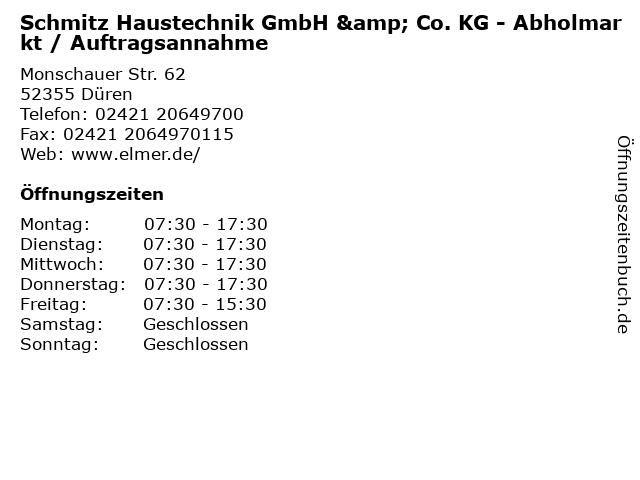 Schmitz Haustechnik GmbH & Co. KG - Abholmarkt / Auftragsannahme in Düren: Adresse und Öffnungszeiten