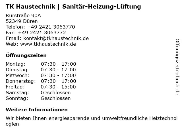 TK Haustechnik   Sanitär-Heizung-Lüftung in Düren: Adresse und Öffnungszeiten