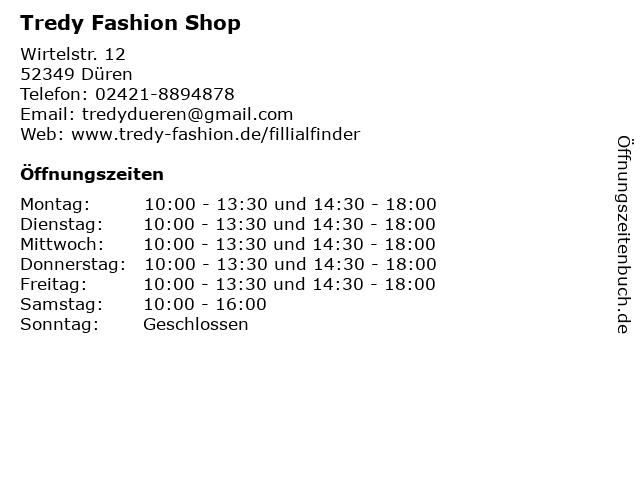 Tredy Fashion Shop in Düren: Adresse und Öffnungszeiten