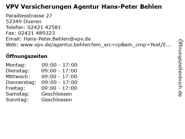 VPV Versicherungen - Berater Hans-Peter Behlen in Düren: Adresse und Öffnungszeiten