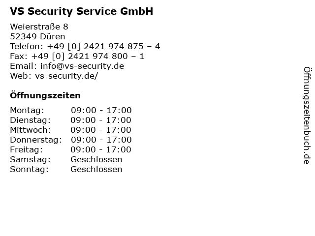 VS Security Service GmbH in Düren: Adresse und Öffnungszeiten