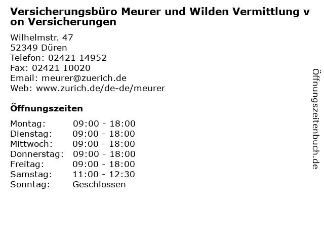 Versicherungsbüro Meurer und Wilden Vermittlung von Versicherungen in Düren: Adresse und Öffnungszeiten