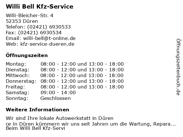 Willi Bell Kfz-Service in Düren, Rheinland: Adresse und Öffnungszeiten