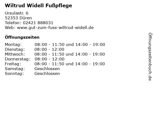 Wiltrud Widell Fußpflege in Düren: Adresse und Öffnungszeiten