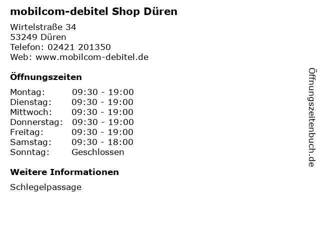 mobilcom-debitel Shop Düren in Düren: Adresse und Öffnungszeiten