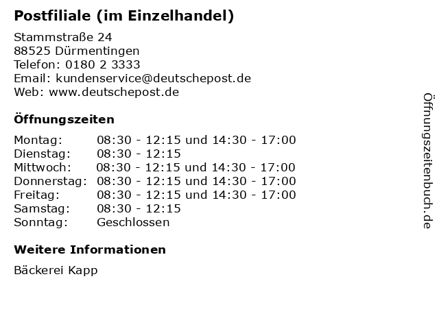 Postfiliale (im Einzelhandel) in Dürmentingen: Adresse und Öffnungszeiten