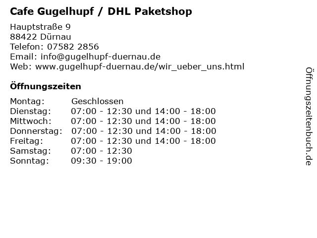 Cafe Gugelhupf / DHL Paketshop in Dürnau: Adresse und Öffnungszeiten