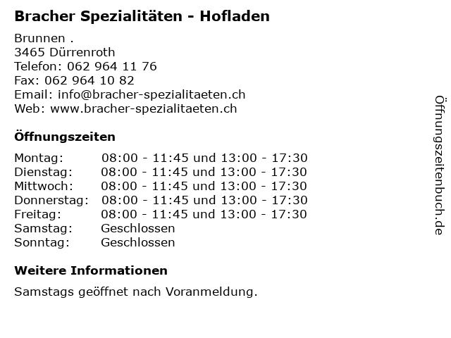 Bracher Spezialitäten - Hofladen in Dürrenroth: Adresse und Öffnungszeiten