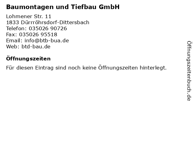 Baumontagen und Tiefbau GmbH in Dürrröhrsdorf-Dittersbach: Adresse und Öffnungszeiten