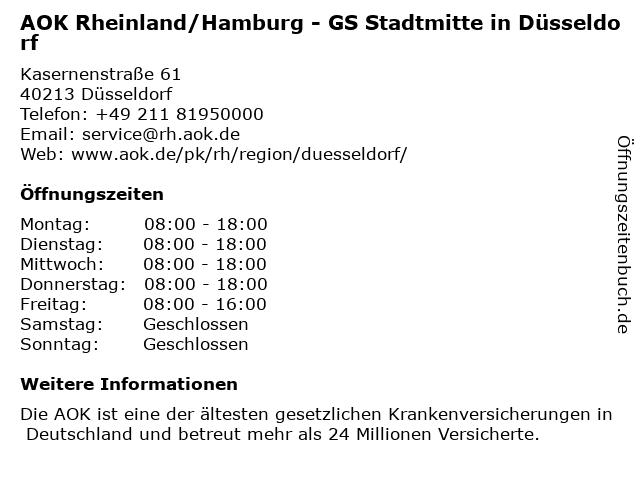 öffnungszeiten Aok Düsseldorf