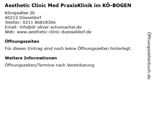 Aesthetic Clinic Med PraxisKlinik im KÖ-BOGEN in Düsseldorf: Adresse und Öffnungszeiten
