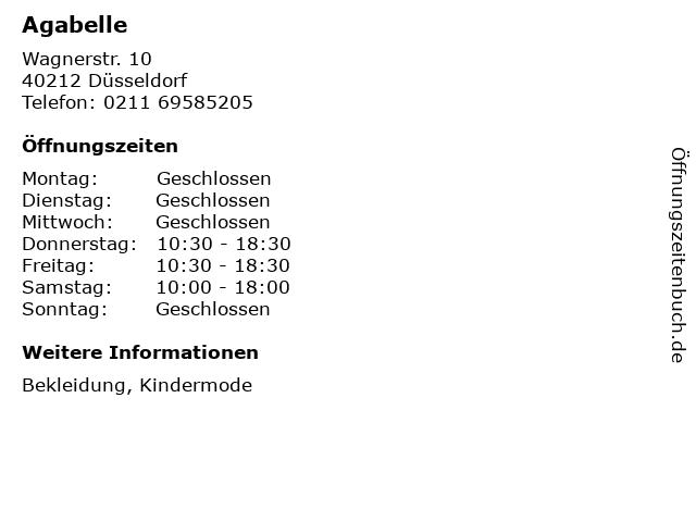 Agabelle in Düsseldorf: Adresse und Öffnungszeiten