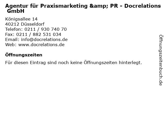 Agentur für Praxismarketing & PR - Docrelations GmbH in Düsseldorf: Adresse und Öffnungszeiten