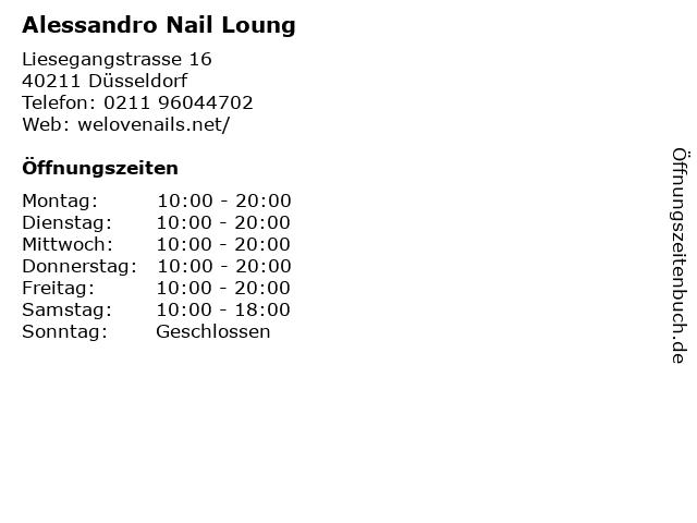 Alessandro Nail Loung in Düsseldorf: Adresse und Öffnungszeiten
