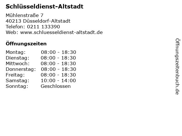 Schlüsseldienst-Altstadt in Düsseldorf-Altstadt: Adresse und Öffnungszeiten