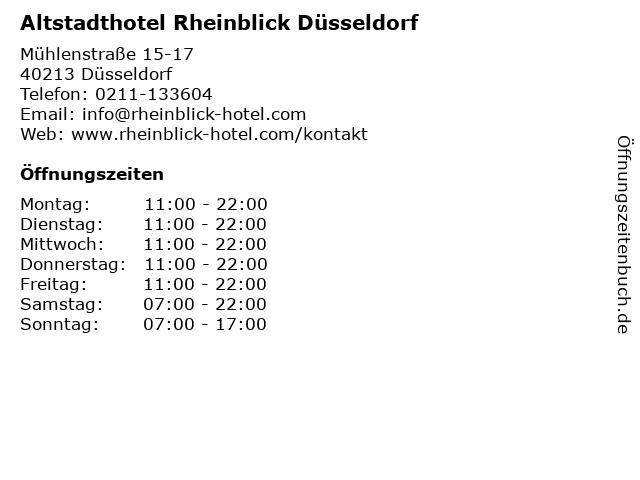 Altstadthotel Rheinblick Düsseldorf in Düsseldorf: Adresse und Öffnungszeiten
