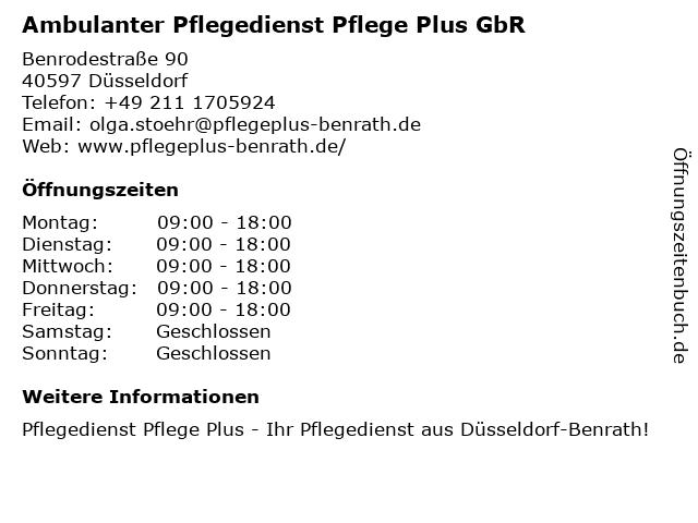 Ambulanter Pflegedienst Pflege Plus GbR in Düsseldorf: Adresse und Öffnungszeiten