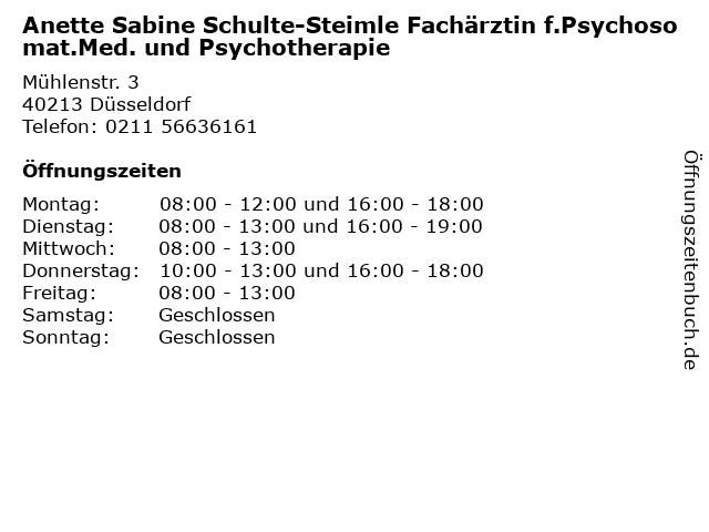 Anette Sabine Schulte-Steimle Fachärztin f.Psychosomat.Med. und Psychotherapie in Düsseldorf: Adresse und Öffnungszeiten