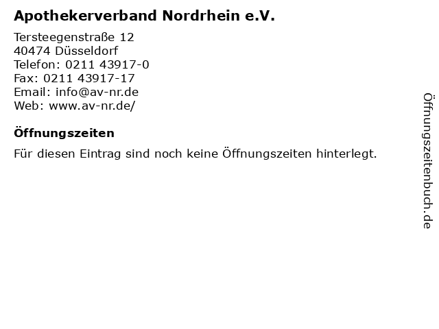 Apothekerverband Nordrhein e.V. in Düsseldorf: Adresse und Öffnungszeiten