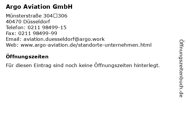 Argo Aviation GmbH in Düsseldorf: Adresse und Öffnungszeiten