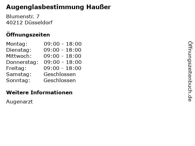Augenglasbestimmung Haußer in Düsseldorf: Adresse und Öffnungszeiten