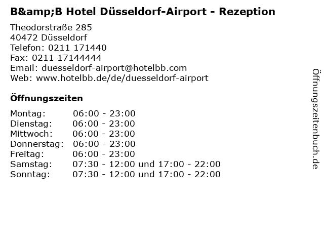 ᐅ Offnungszeiten B B Hotel Dusseldorf Airport Rezeption