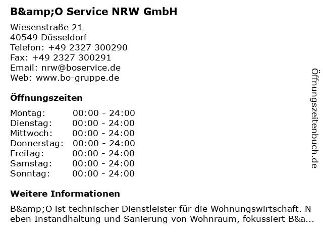 B&O Service NRW GmbH in Düsseldorf: Adresse und Öffnungszeiten