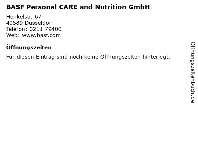 BASF Personal CARE and Nutrition GmbH in Düsseldorf: Adresse und Öffnungszeiten
