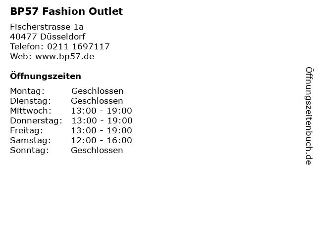 BP57 Fashion Outlet in Düsseldorf: Adresse und Öffnungszeiten