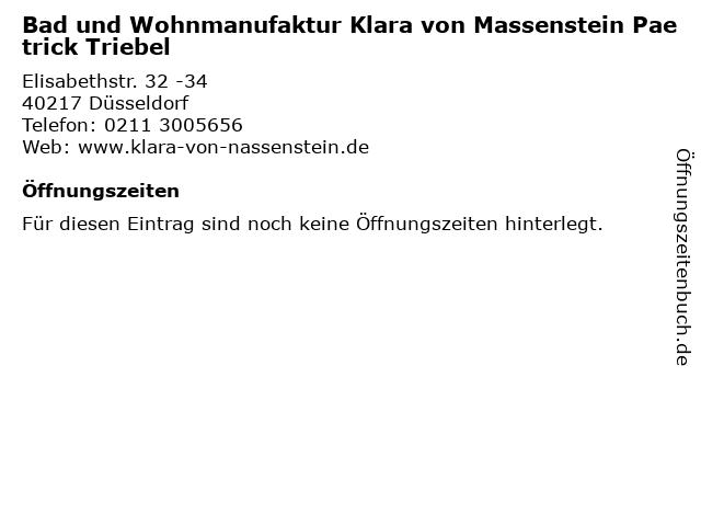 Bad und Wohnmanufaktur Klara von Massenstein Paetrick Triebel in Düsseldorf: Adresse und Öffnungszeiten