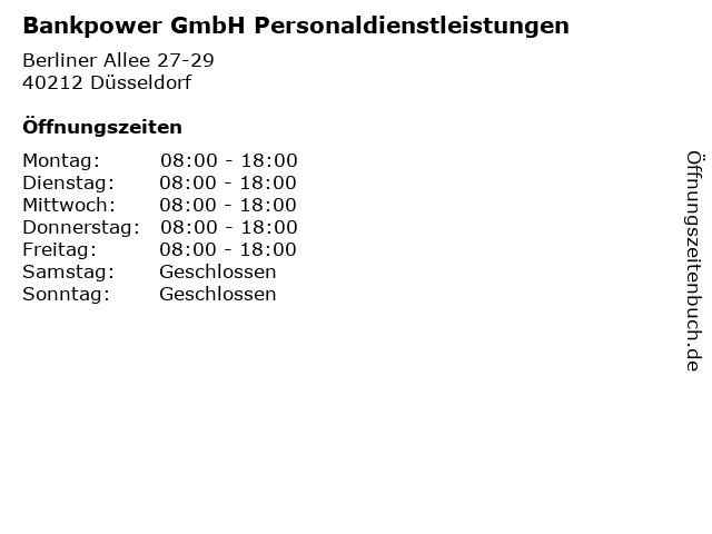 Bankpower GmbH Personaldienstleistungen in Düsseldorf: Adresse und Öffnungszeiten