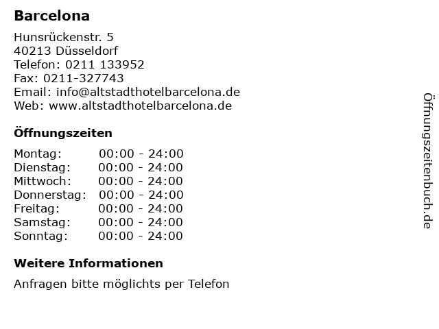 Barcelona in Düsseldorf: Adresse und Öffnungszeiten