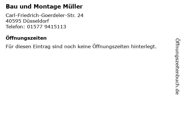 Bau und Montage Müller in Düsseldorf: Adresse und Öffnungszeiten