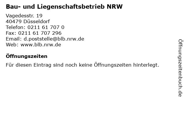 Bau- und Liegenschaftsbetrieb NRW in Düsseldorf: Adresse und Öffnungszeiten