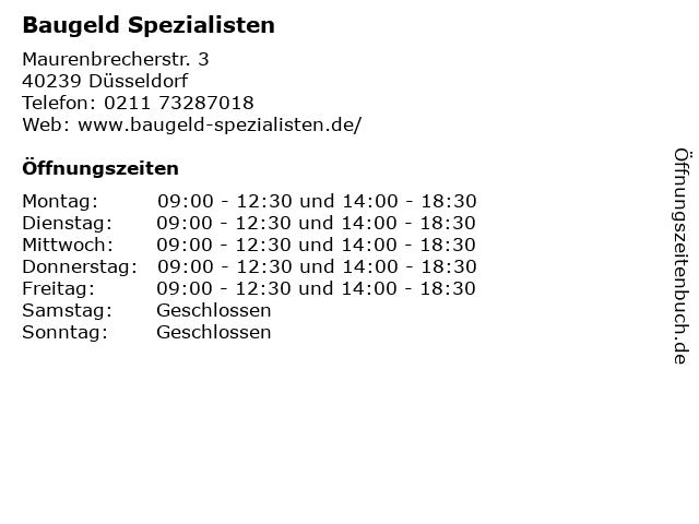 Baugeld Spezialisten in Düsseldorf: Adresse und Öffnungszeiten
