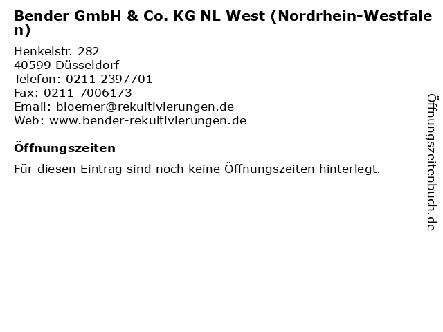 Bender GmbH & Co. KG NL West (Nordrhein-Westfalen) in Düsseldorf: Adresse und Öffnungszeiten