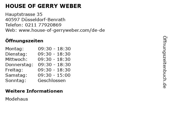 HOUSE OF GERRY WEBER in Düsseldorf-Benrath: Adresse und Öffnungszeiten